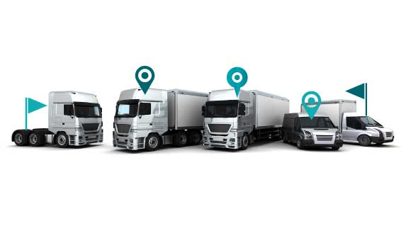 Image of fleet of trucks with Navtrack tracking